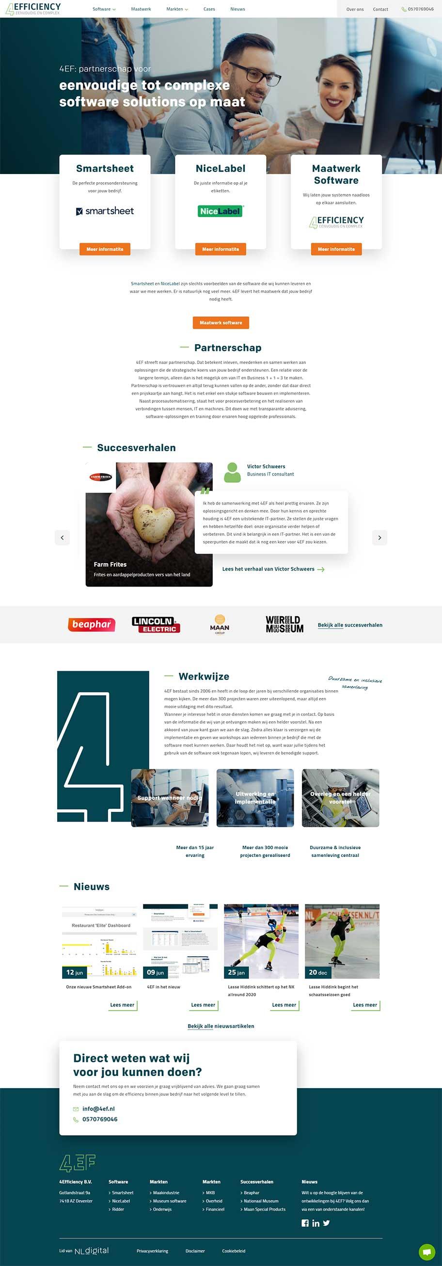4Efficiency website voorbeeld op desktop formaat