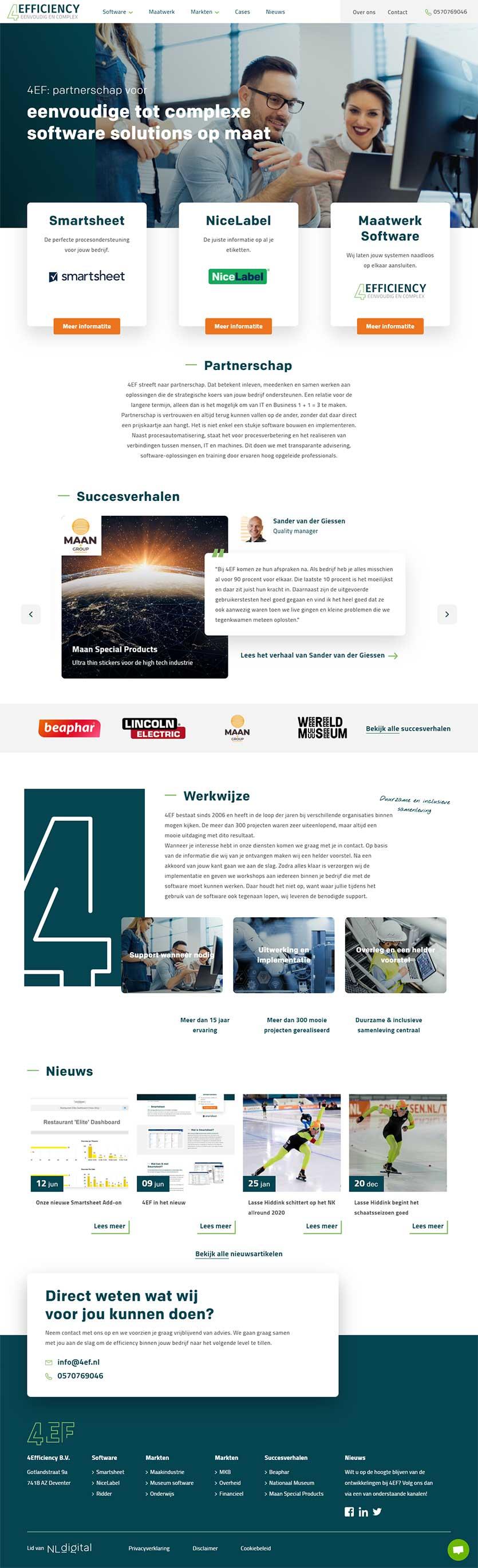 4Efficiency website voorbeeld op laptops