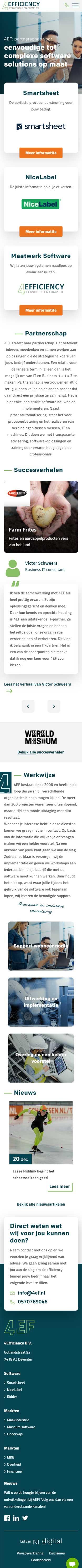 4Efficiency website voorbeeld op mobiele apparaten