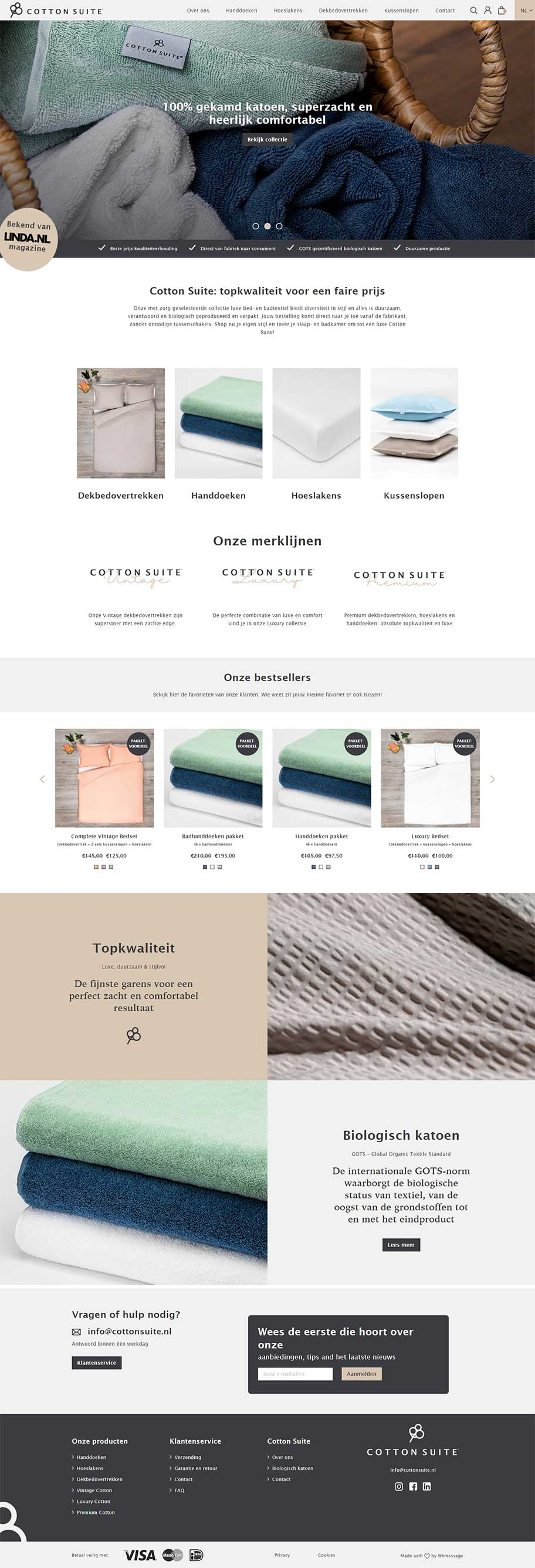 Cotton Suite website voorbeeld op desktop formaat