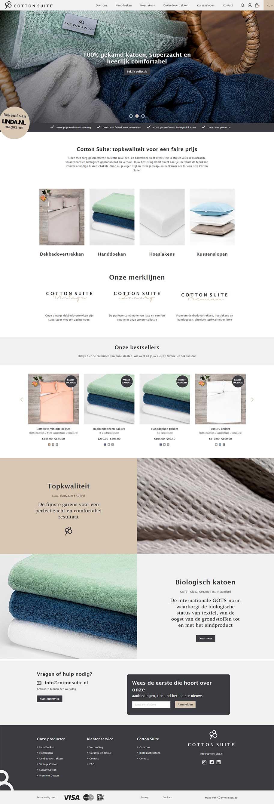 Cotton Suite website voorbeeld op desktop formaat