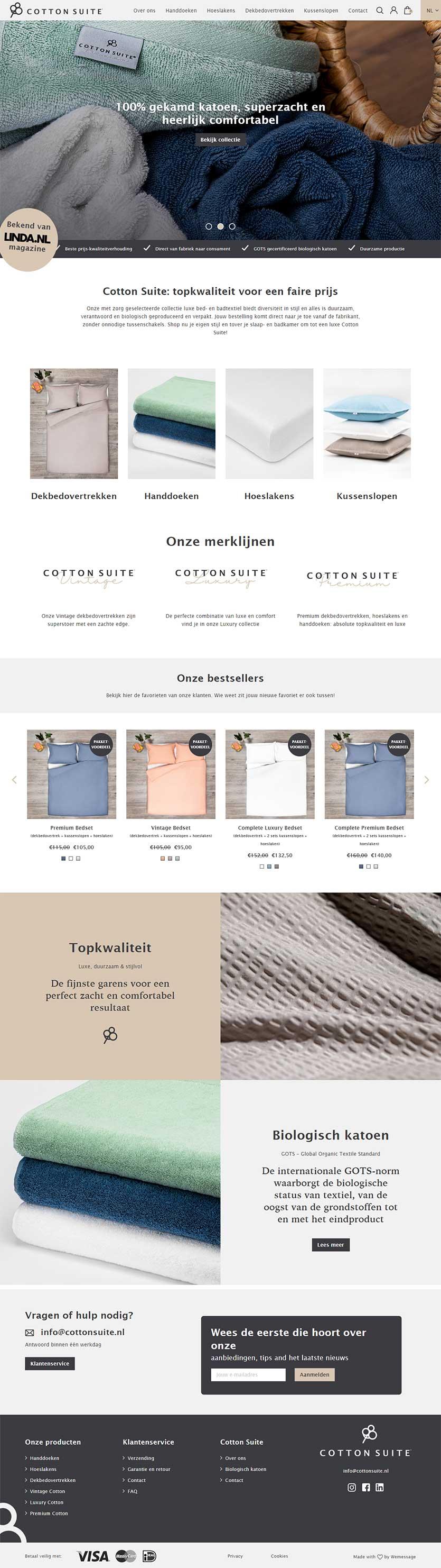 Cotton Suite website voorbeeld op laptops