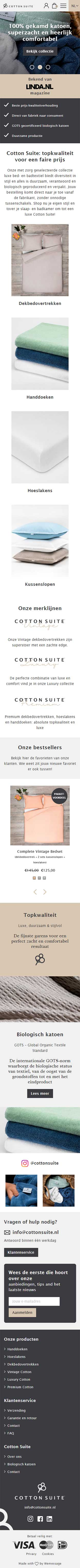Cotton Suite website voorbeeld op mobiele apparaten