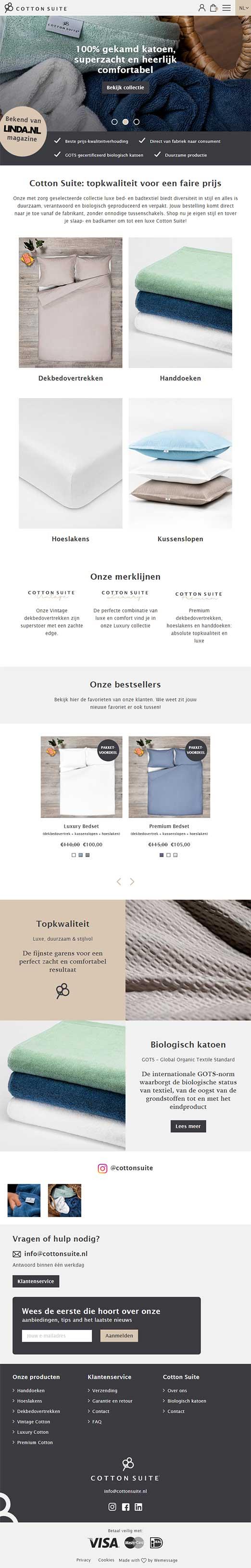 Cotton Suite website voorbeeld op tablets