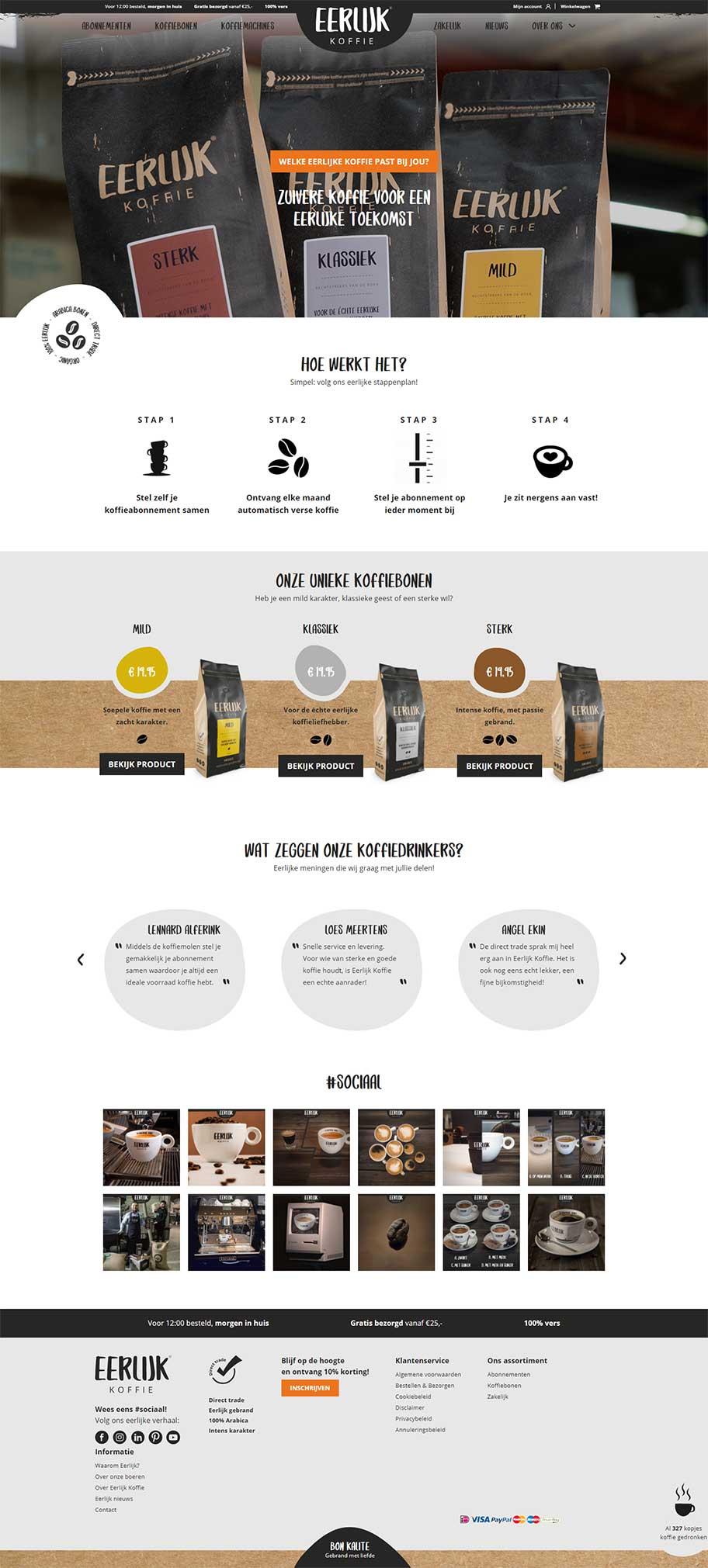 Eerlijk Koffie website voorbeeld op desktop formaat