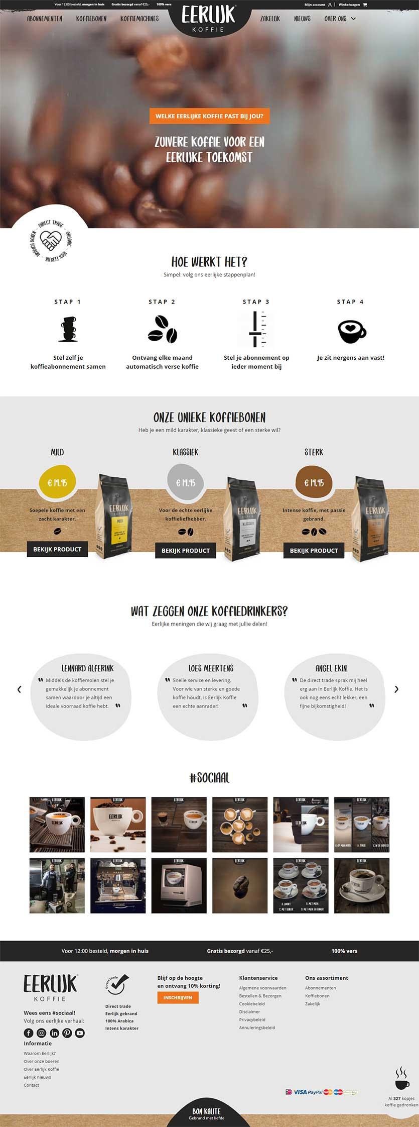 Eerlijk Koffie website voorbeeld op laptops
