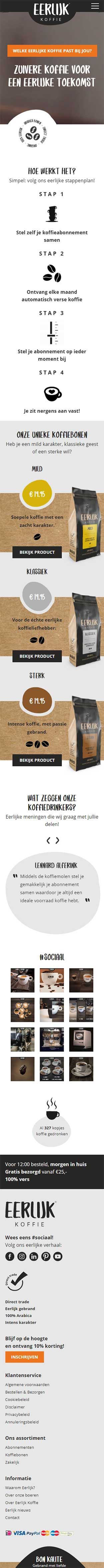 Eerlijk Koffie website voorbeeld op mobiele apparaten
