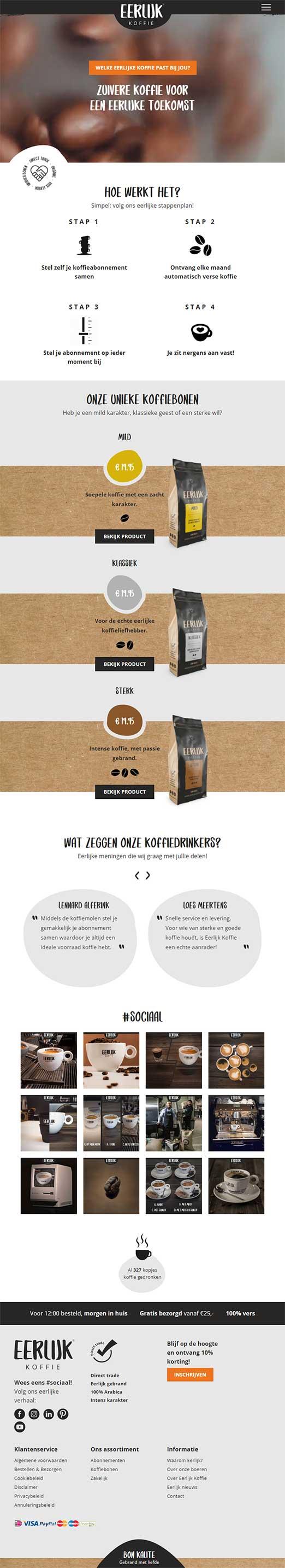 Eerlijk Koffie website voorbeeld op tablets