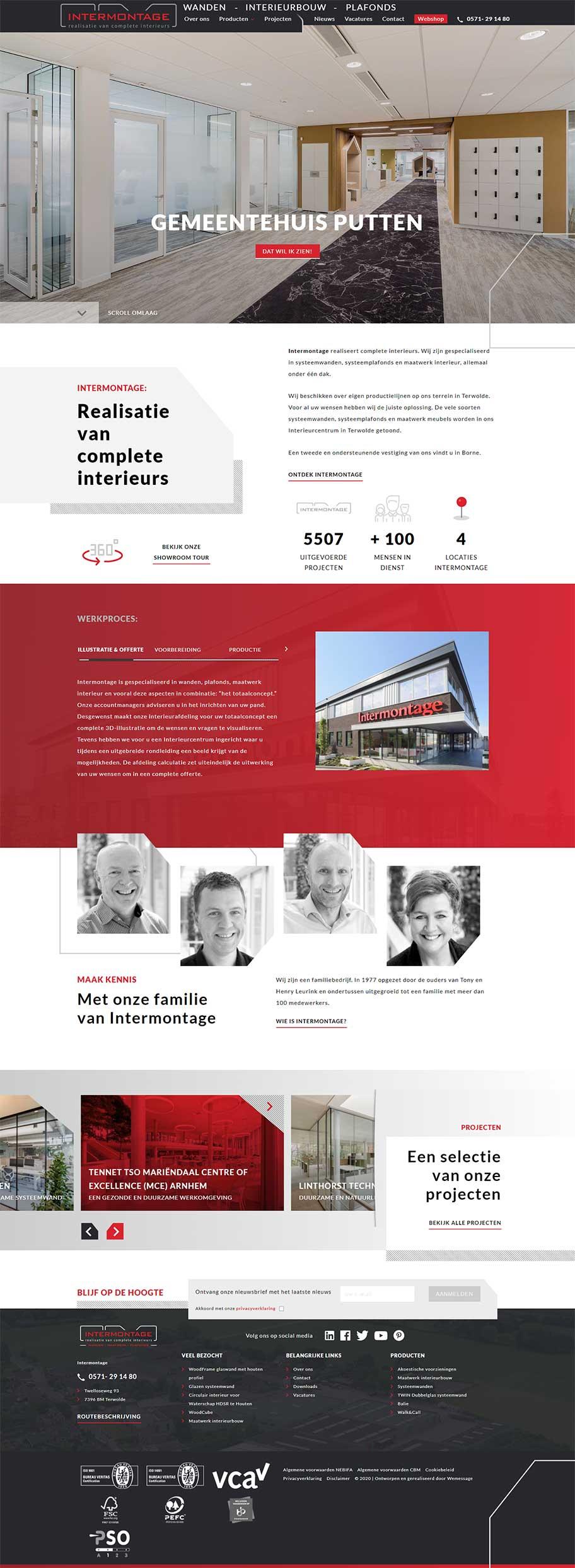 Intermontage website voorbeeld op desktop formaat