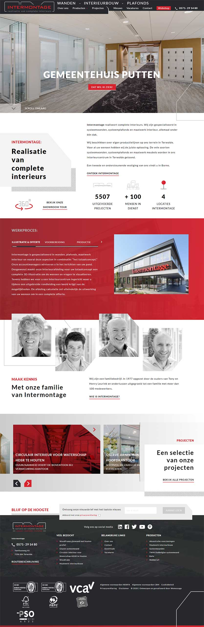Intermontage website voorbeeld op laptops