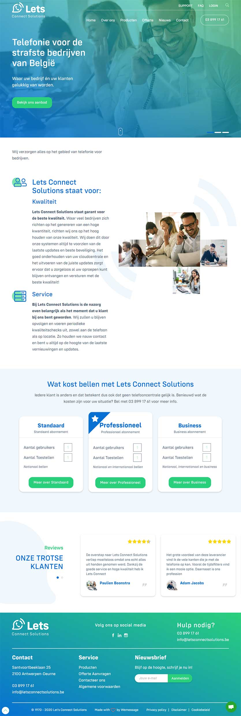 Let's Connect Solutions website voorbeeld op laptops