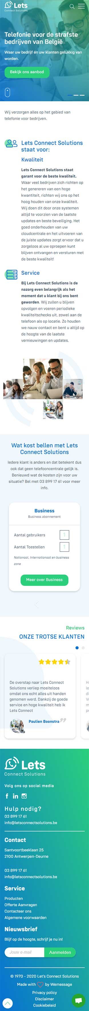 Let's Connect Solutions website voorbeeld op mobiele apparaten