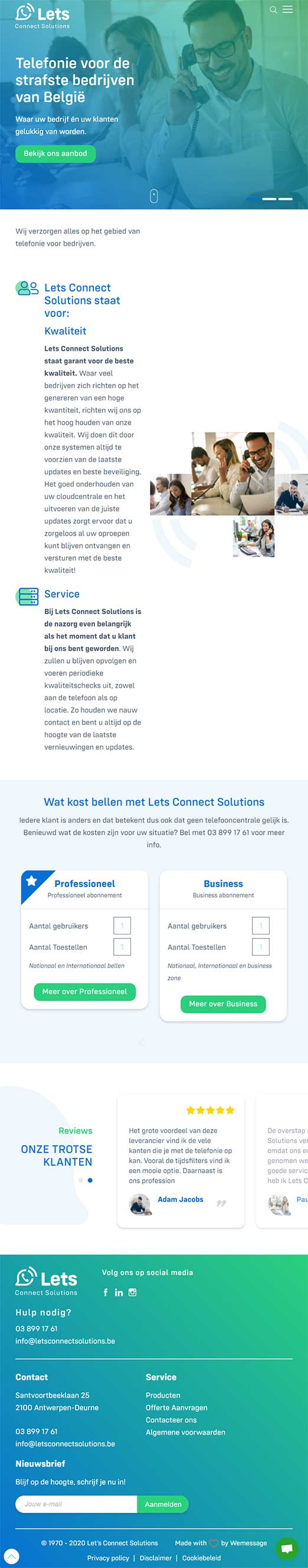 Let's Connect Solutions website voorbeeld op tablets