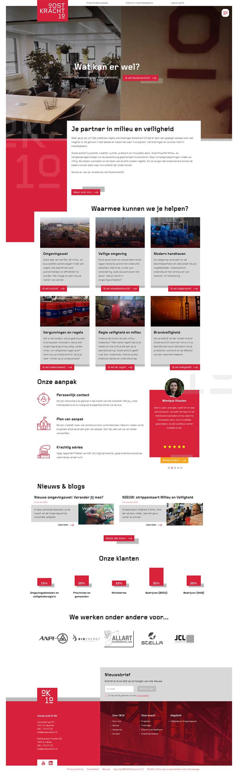 Oostkracht10 website voorbeeld op desktop formaat